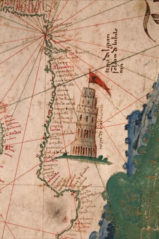 Anonimo portoghese, carta navale per le isole nuovamente trovate in la parte dell'india (de cantino), 1501-02 (bibl. estense) 14 faro di alessandria - Sailko - Ferrara (FE)
