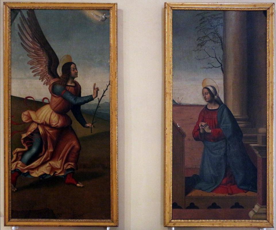 Domenico panetti, angelo annunciante e vergine annunciata, da s. andrea a ferrara - Sailko - Ferrara (FE)