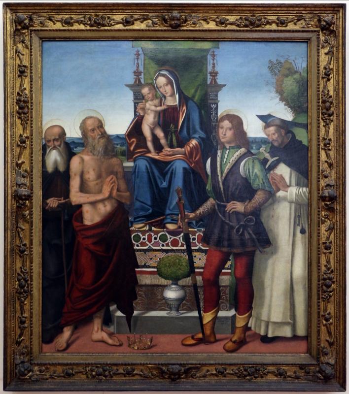 Domenico panetti, maestà tra i ss. antonio abate, giobbe, giuliano e pietro martire, 1503, da s. giobbe a ferrara 01 - Sailko - Ferrara (FE)