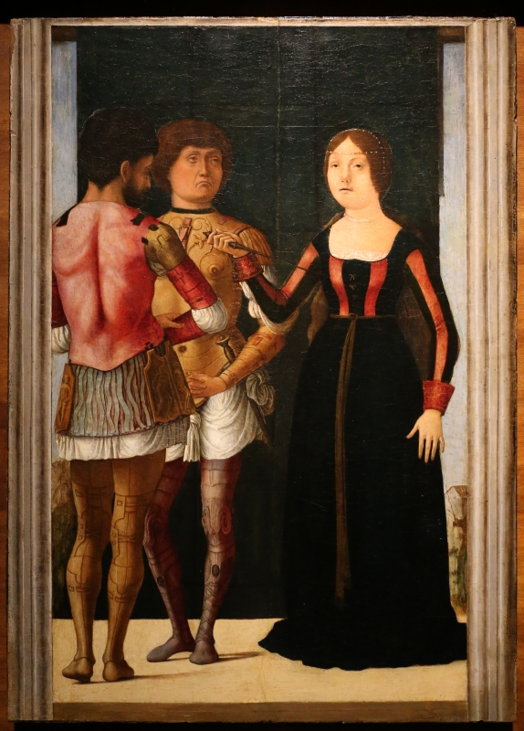 Ercole de' roberti e giovan francesco maineri, lucrezia, bruto e collatino, 1486-93 ca. (galleria estense) 01 - Sailko - Ferrara (FE)