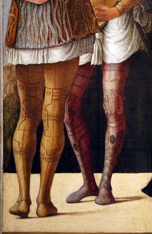 Ercole de' roberti e giovan francesco maineri, lucrezia, bruto e collatino, 1486-93 ca. (galleria estense) 04 gambe - Sailko - Ferrara (FE)