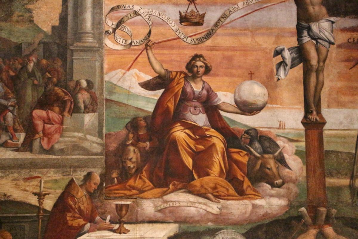 Garofalo, allegoria dell'antico e nuovo testamento con trionfo della chiesa sulla sinagoga, 1523, da s. andrea a ferrara 05 - Sailko - Ferrara (FE)