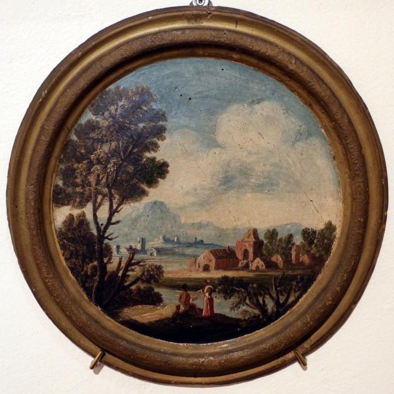 Giuseppe zola (scuola), paesaggio con due donne, 1700-40 ca - Sailko - Ferrara (FE)