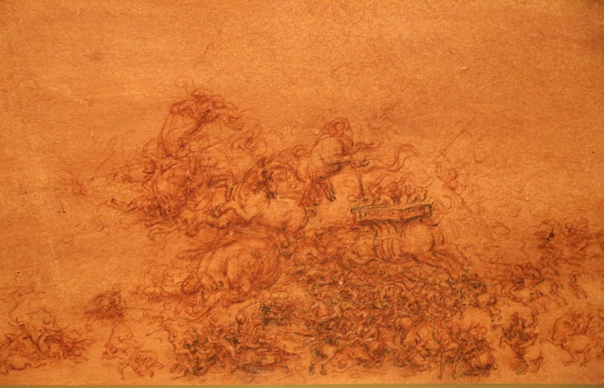 Leonardo da vinci, battaglia fantastica con cavalli, 1515-18 ca. (royal collections) 03 - Sailko - Ferrara (FE)