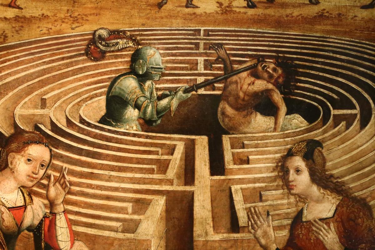 Maestro dei cassoni campana, teseo e il minotauro, 1510-15 ca. (avignone, petit palais) 11 labirinto e centauro - Sailko - Ferrara (FE)