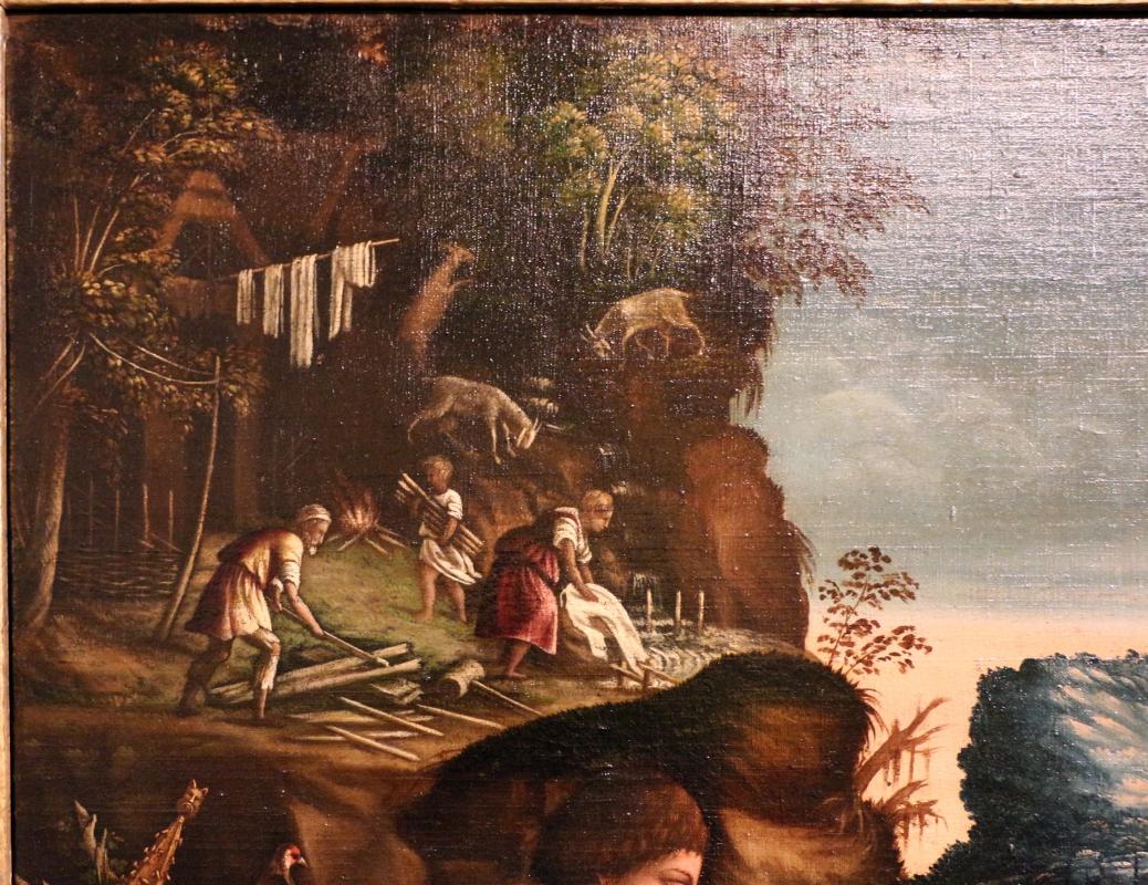 Maestro dei dodici apostoli, giacobbe e rachele al pozzo, ferrara 1500-50 ca. 02 lavori manuali - Sailko - Ferrara (FE)