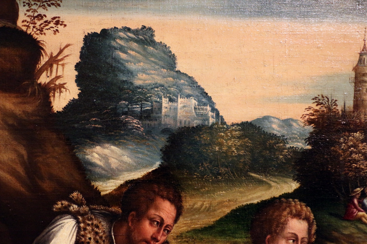 Maestro dei dodici apostoli, giacobbe e rachele al pozzo, ferrara 1500-50 ca. 06 paesaggio - Sailko - Ferrara (FE)