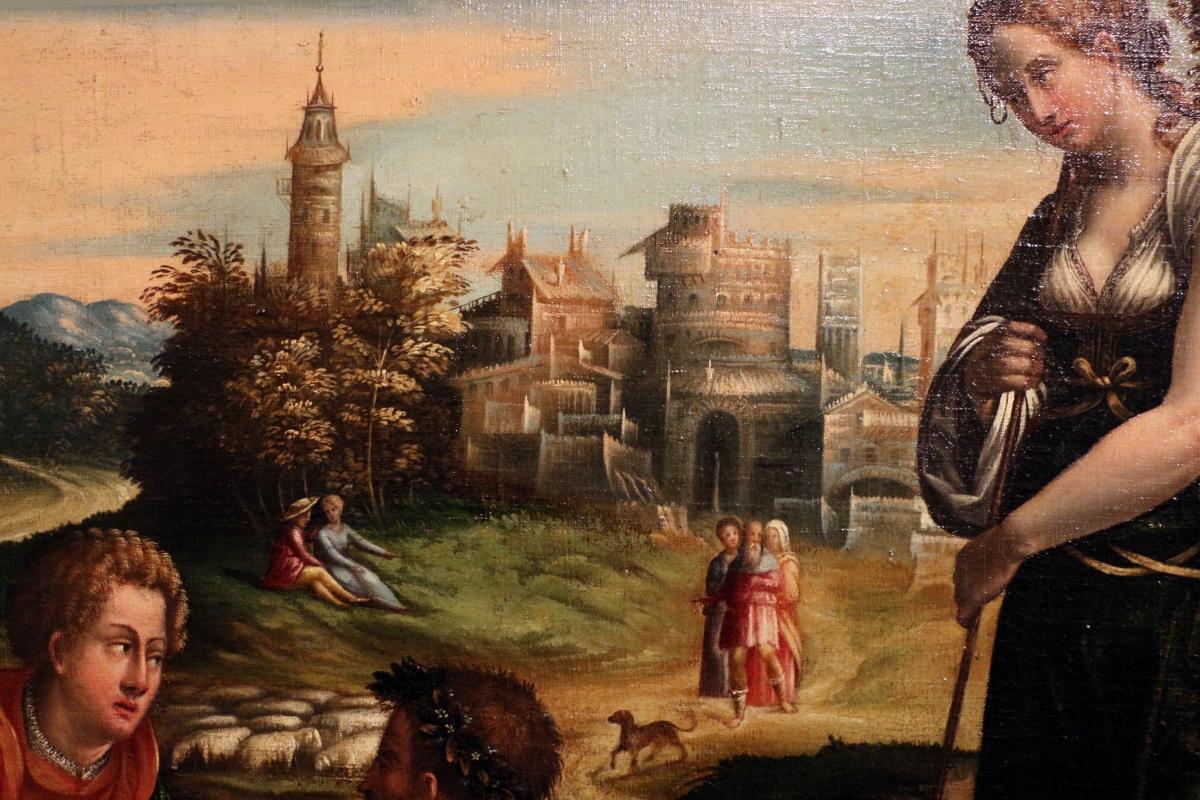 Maestro dei dodici apostoli, giacobbe e rachele al pozzo, ferrara 1500-50 ca. 07 - Sailko - Ferrara (FE)
