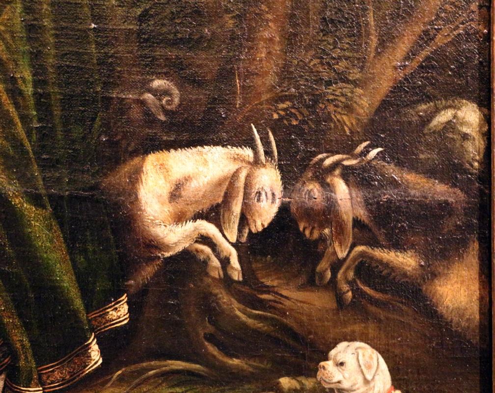 Maestro dei dodici apostoli, giacobbe e rachele al pozzo, ferrara 1500-50 ca. 08 lotta di capre - Sailko - Ferrara (FE)