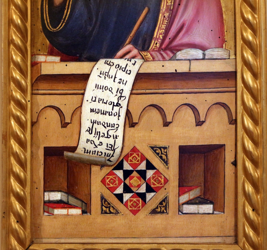 Maestro ferrarese, quattro evangelisti e san maurelio, 1390 ca. 09 giovanni, libri - Sailko - Ferrara (FE)