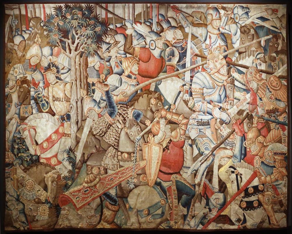 Manifattura fiamminga (prob. tournai), arazzo con la battaglia di roncisvalle, 1475-1500 ca. (v&a) 01 - Sailko - Ferrara (FE)