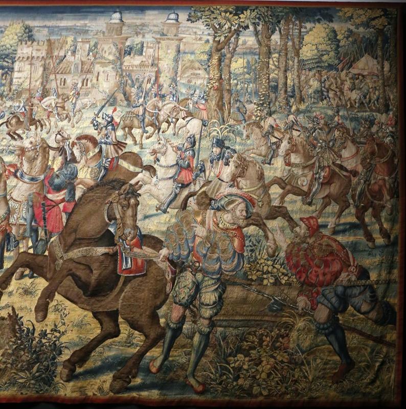 Manifattura fiamminga su dis. di bernard van orley, arazzo con battaglia di pavia e cattura del re di francia, 1528-31 (capodimonte) 02 - Sailko - Ferrara (FE)