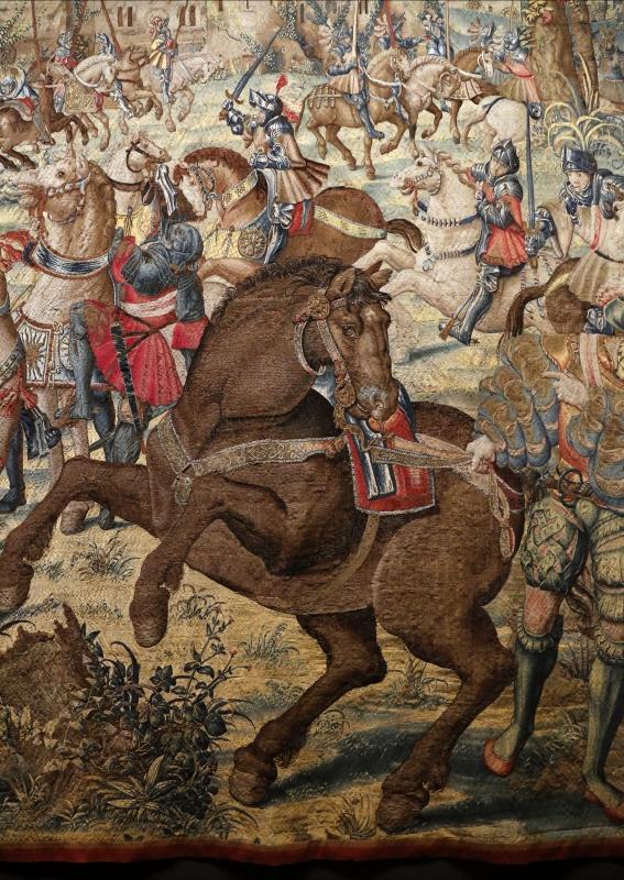 Manifattura fiamminga su dis. di bernard van orley, arazzo con battaglia di pavia e cattura del re di francia, 1528-31 (capodimonte) 04 - Sailko - Ferrara (FE)