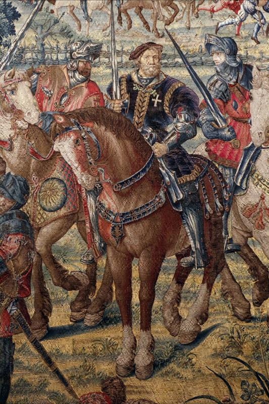 Manifattura fiamminga su dis. di bernard van orley, arazzo con battaglia di pavia e cattura del re di francia, 1528-31 (capodimonte) 05 cavalli - Sailko - Ferrara (FE)