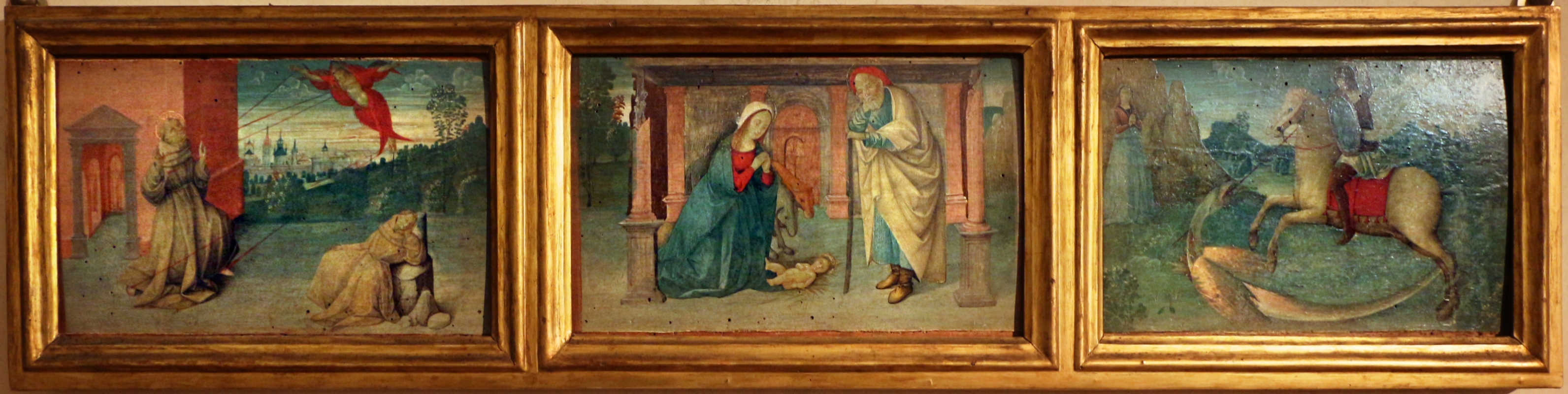 Pittore ferrarese o romagnolo, arcangelo gabriele, stigmate di s. francesco, natività e san giorgio col drago, 1510 ca. 02 - Sailko - Ferrara (FE)