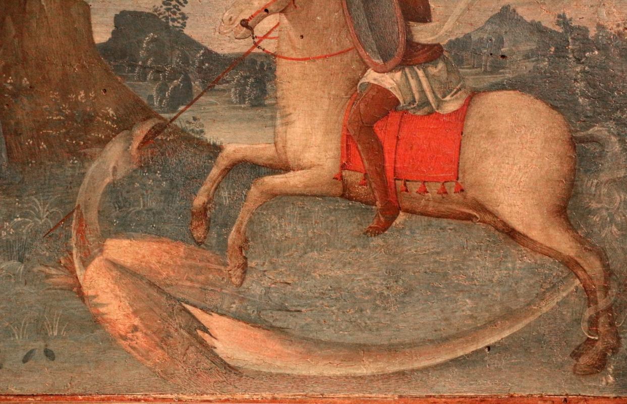 Pittore ferrarese o romagnolo, arcangelo gabriele, stigmate di s. francesco, natività e san giorgio col drago, 1510 ca. 06 - Sailko - Ferrara (FE)
