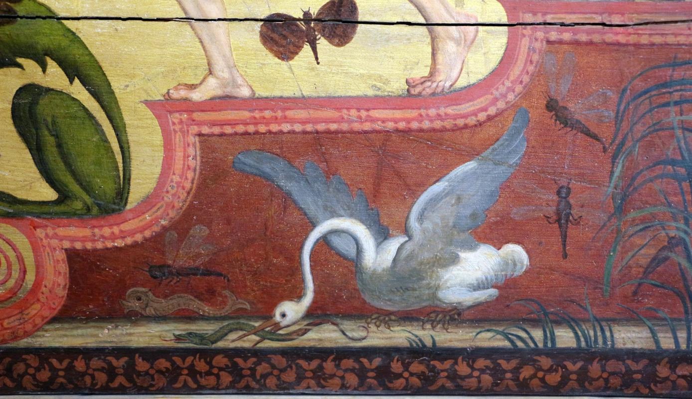 Pittore ferrarese, cassa di clavicembalo con grottesche a tema dionisiaco, 1550-1600 ca. 05 cicogna e biscia - Sailko - Ferrara (FE)