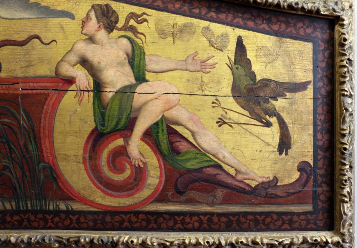 Pittore ferrarese, cassa di clavicembalo con grottesche a tema dionisiaco, 1550-1600 ca. 06 ninfa e uccello - Sailko - Ferrara (FE)
