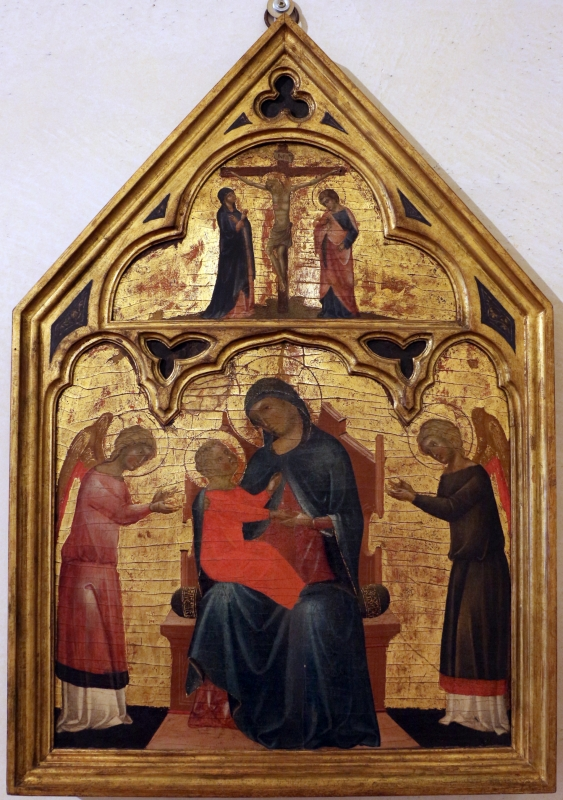 Pittore veneziano, madonna col bambino e due angeli, crocifissione e dolenti, 1350-1400 ca - Sailko - Ferrara (FE)
