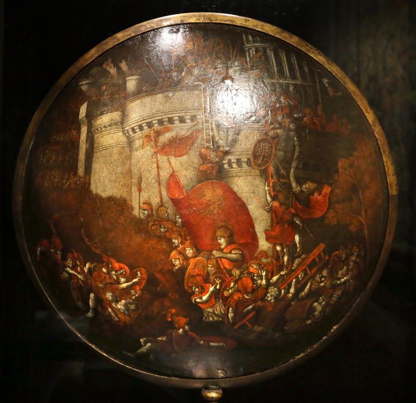 Polidoro da caravaggio, rotella da parata con assedio di cartagena e episodio di diana atteone, 1525-27 ca. (palazzo madama, to) 01 - Sailko - Ferrara (FE)