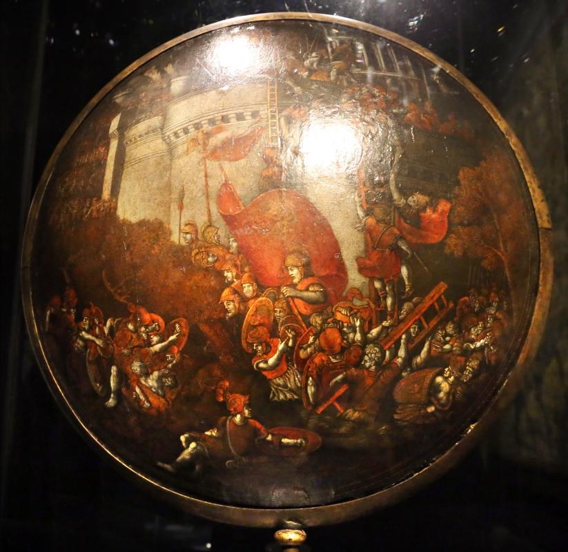 Polidoro da caravaggio, rotella da parata con assedio di cartagena e episodio di diana atteone, 1525-27 ca. (palazzo madama, to) 02 - Sailko - Ferrara (FE)