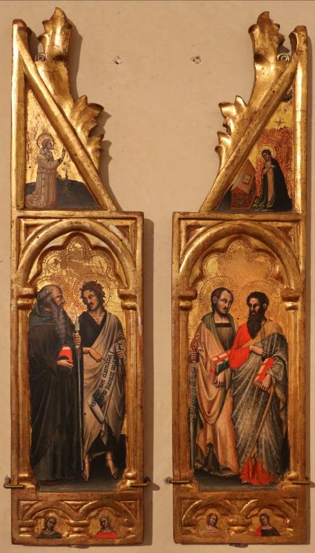 Simone dei crocifissi (attr.), sportelli con annunciazione e quattro santi, 1355-90 ca. 01 - Sailko - Ferrara (FE)