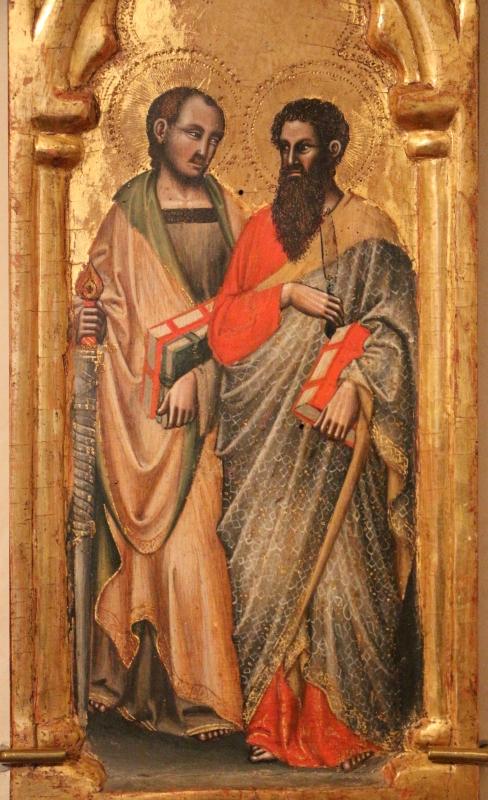 Simone dei crocifissi (attr.), sportelli con annunciazione e quattro santi, 1355-90 ca. 04 antonio abate e il battista - Sailko - Ferrara (FE)