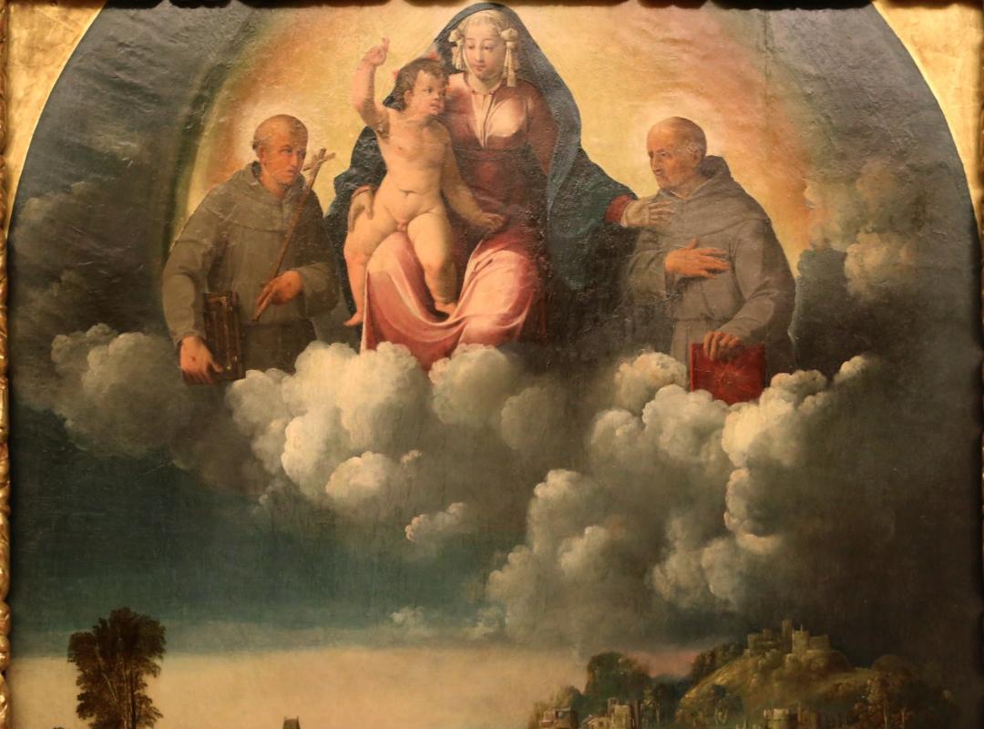 Bottega di dosso e battista dossi, apparizione della madonna col bambino tra i ss. francesco e bernardino ai confratelli della neve, 1530-40 ca. 02 - Sailko - Modena (MO)