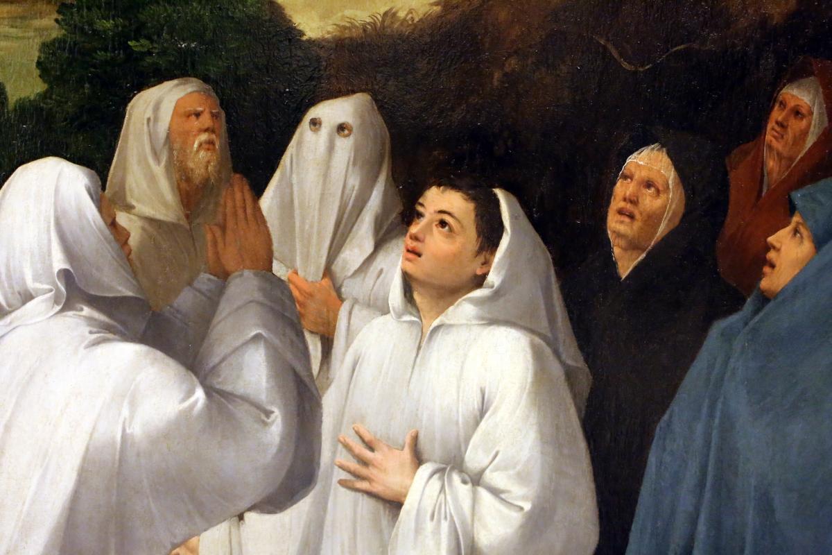 Bottega di dosso e battista dossi, apparizione della madonna col bambino tra i ss. francesco e bernardino ai confratelli della neve, 1530-40 ca. 06 - Sailko - Modena (MO)