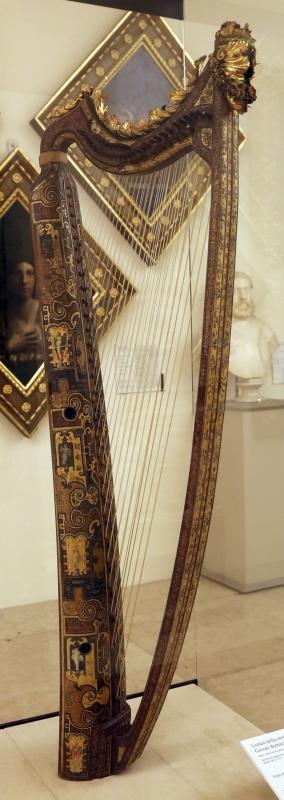 Cerchia di giovan battista giacomelli, arpa doppia, 1581, decorata nel 1587-88, con fregio del 1588-93, 01 - Sailko - Modena (MO)