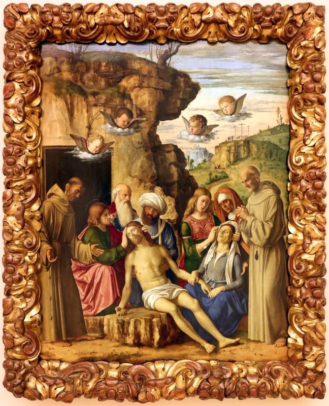 Cima da conegliano, compianto sul cristo morto coi ss. francesco e bernardino, 1502-1505 ca. 01 - Sailko - Modena (MO)