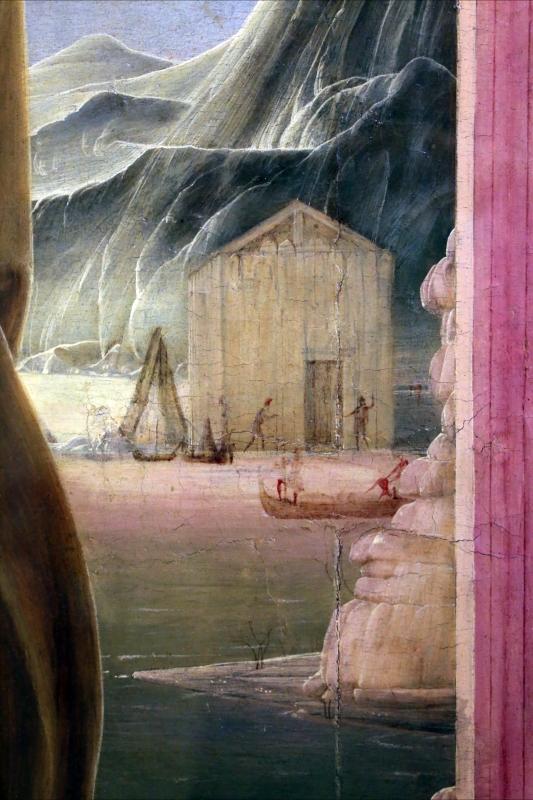 Cosmè tura, sant'antonio da padova, 1484-88 ca. 08 capanna con imbarcazioni - Sailko - Modena (MO)