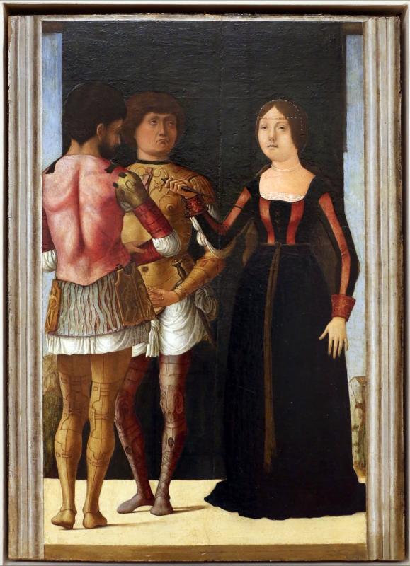 Ercole de' roberti e giovan francesco maineri, lucrezia, bruto e collatino, 1490 ca - Sailko - Modena (MO)