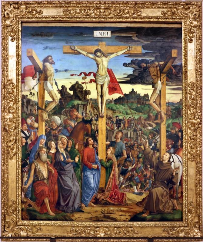 Francesco bianchi ferrari, crocifissione coi ss. girolamo e francesco (pala delle tre croci), 1490-95 ca. 01 - Sailko - Modena (MO)