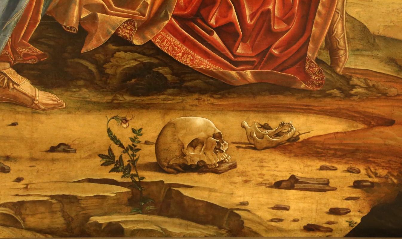 Francesco bianchi ferrari, crocifissione coi ss. girolamo e francesco (pala delle tre croci), 1490-95 ca. 09 teschio e mandibola - Sailko - Modena (MO)