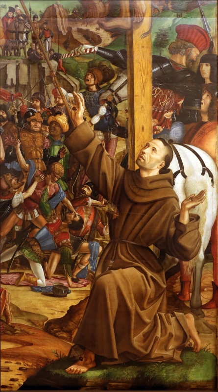 Francesco bianchi ferrari, crocifissione coi ss. girolamo e francesco (pala delle tre croci), 1490-95 ca. 13 francesco - Sailko - Modena (MO)