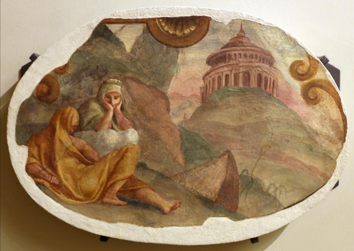 Leolio orsi, frammenti di affreschi dalla rocca di novellara, 1555-56 ca., 09 deucalione e pirra davanti al tempio di giove - Sailko - Modena (MO)
