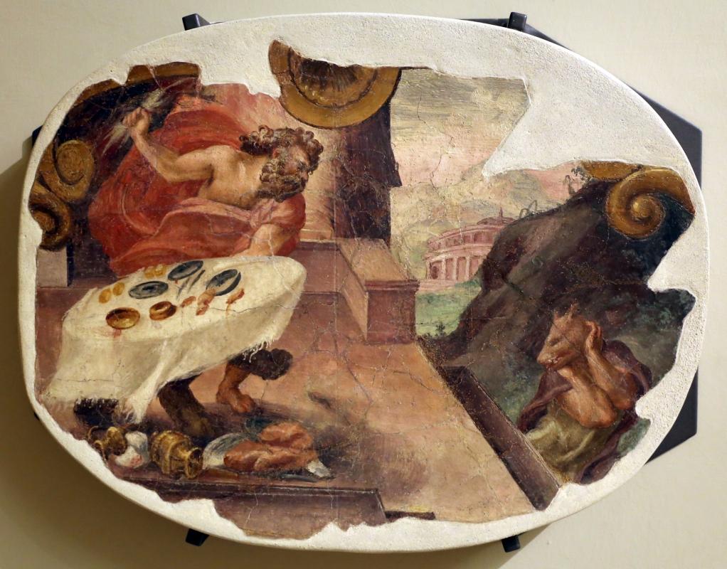 Leolio orsi, frammenti di affreschi dalla rocca di novellara, 1555-56 ca., 10 giove trasforma licaone in lupo - Sailko - Modena (MO)