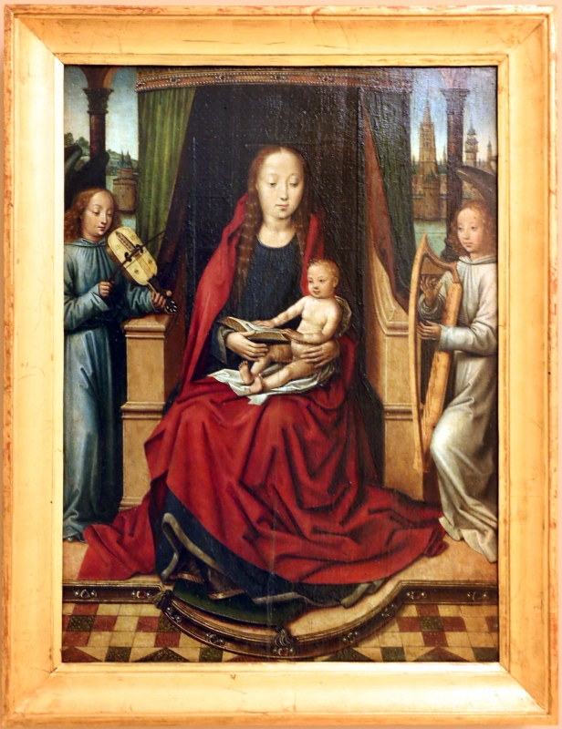 Maestro della leggenda di santa lucia, madonna ciol bambino e due angeli musicanti, 1485 ca - Sailko - Modena (MO)