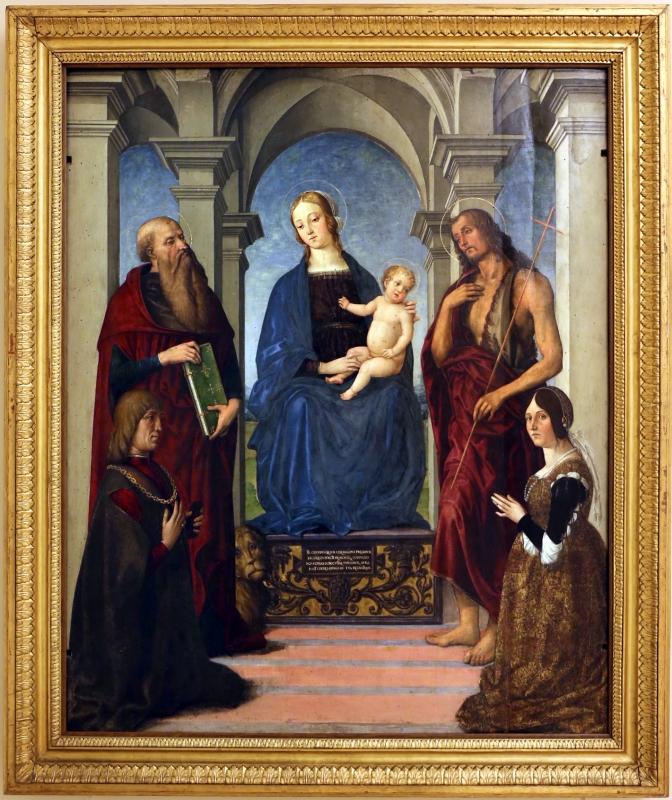 Maestro della pala rangoni, madonna col bambino tra santi e gli offerenti nicolò rangoni e bianca bentivoglio, 1490-1500 ca - Sailko - Modena (MO)
