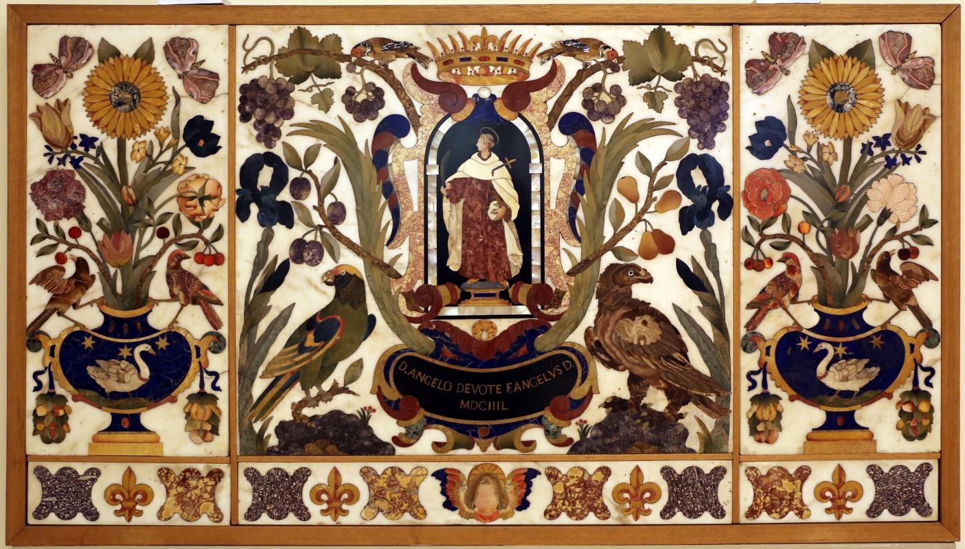 Manifattura fiorentina, paliotto con sant'angelo toma, cartiglio, fiori, frutta e animali, in commesso di pietre dure, 1647, 01 - Sailko - Modena (MO)