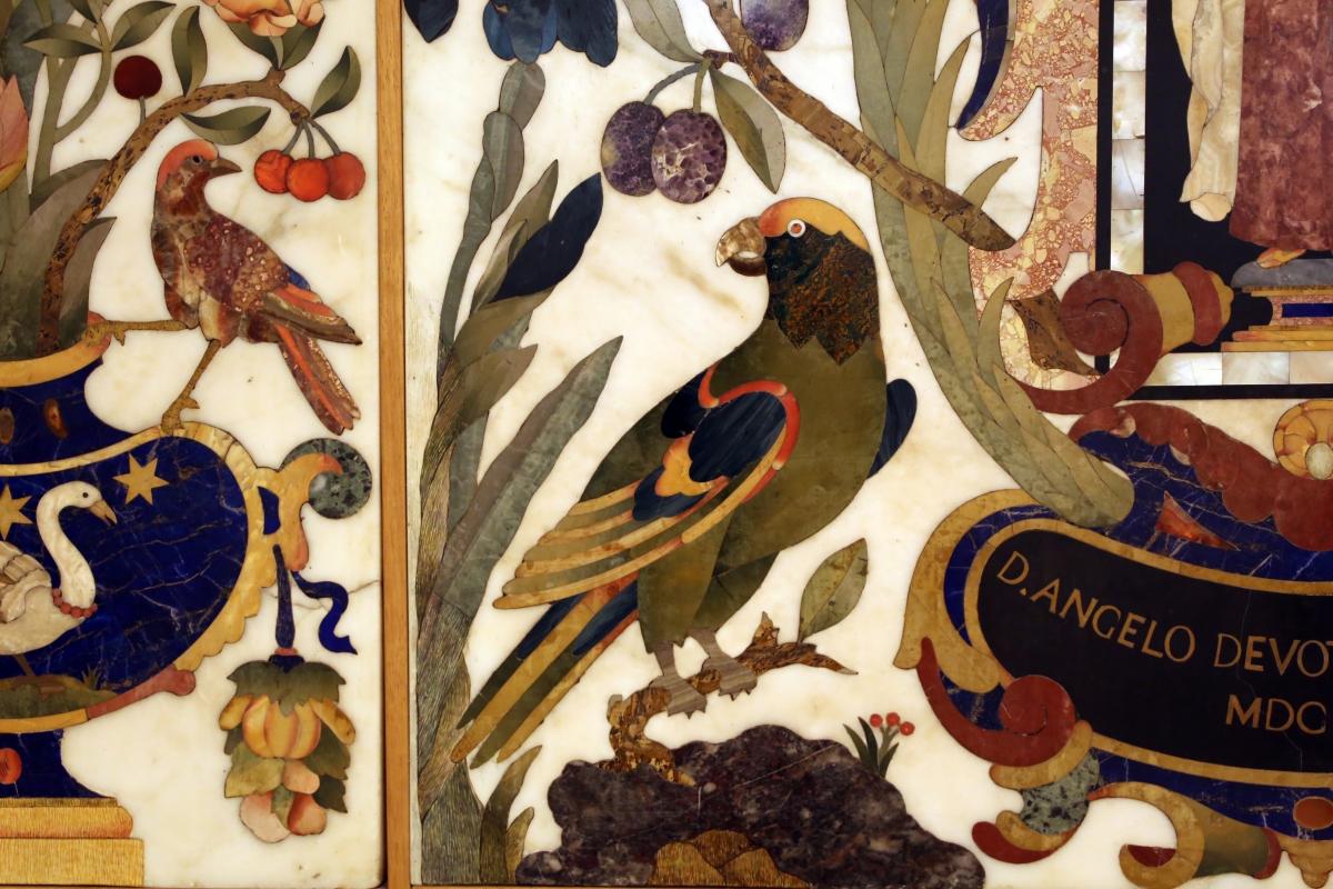 Manifattura fiorentina, paliotto con sant'angelo toma, cartiglio, fiori, frutta e animali, in commesso di pietre dure, 1647, 02 pappagallo - Sailko - Modena (MO)