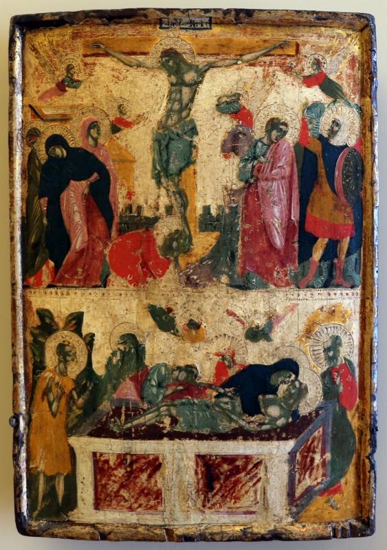 Pittore veneto-cretese, icona con crocifissione e deposizione, xiii-xiv secolo - Sailko - Modena (MO)