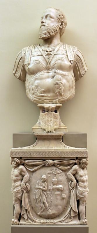 Prospero sogari spani detto il clemente, busto del duca ercole II d'este con base con allegoria della pazienza, 1554, 01 - Sailko - Modena (MO)