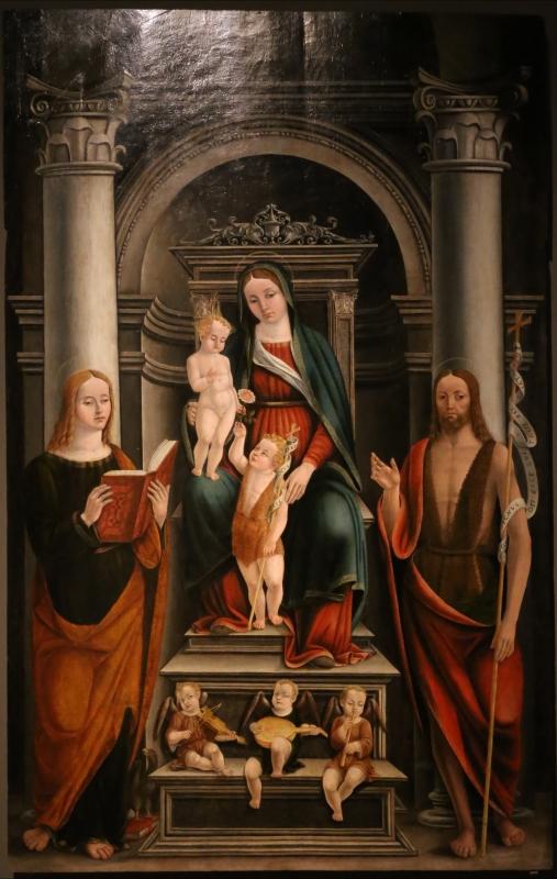 Scuola emiliana, mdonna in trono col bambino, san giovannino, il battista adulto, san giovanni evangelista e angeli musicanti, 1549 - Sailko - Modena (MO)