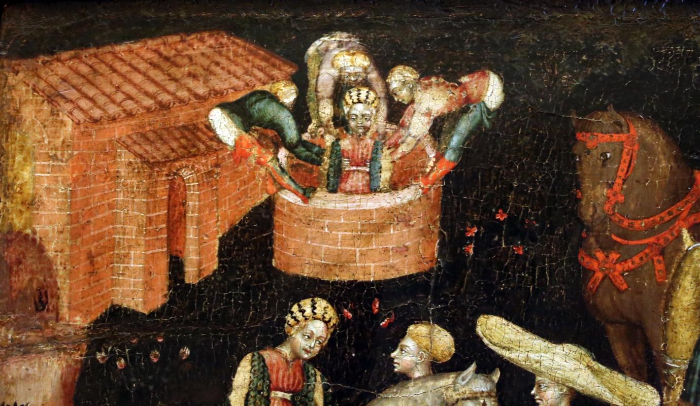 Secondo maestro di carpi, leggenda di san giovanni boccadoro (crisostomo), 1430 ca. 02 donna in pozzo - Sailko - Modena (MO)