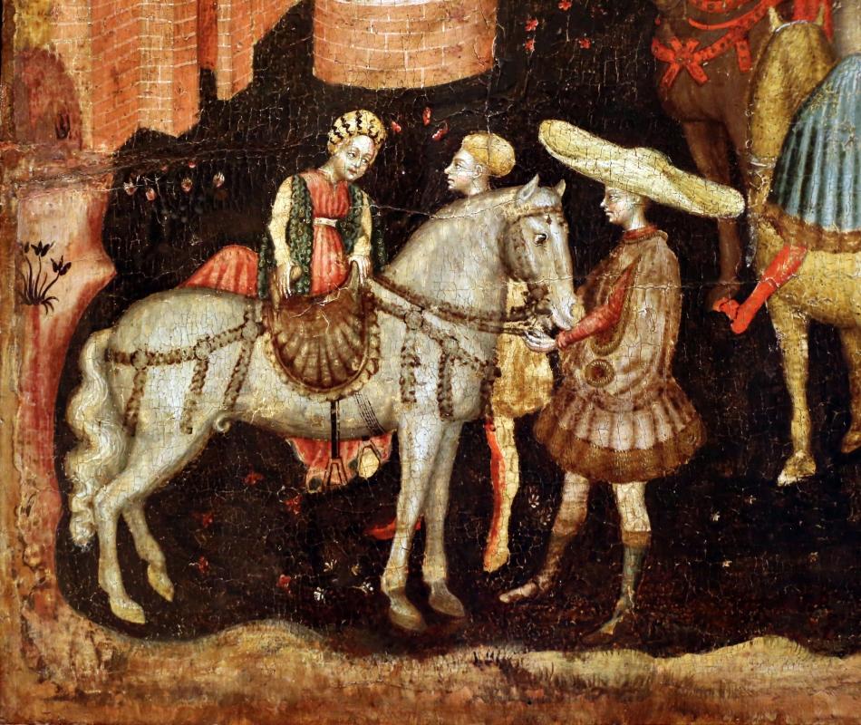 Secondo maestro di carpi, leggenda di san giovanni boccadoro (crisostomo), 1430 ca. 03 donna a cavallo - Sailko - Modena (MO)