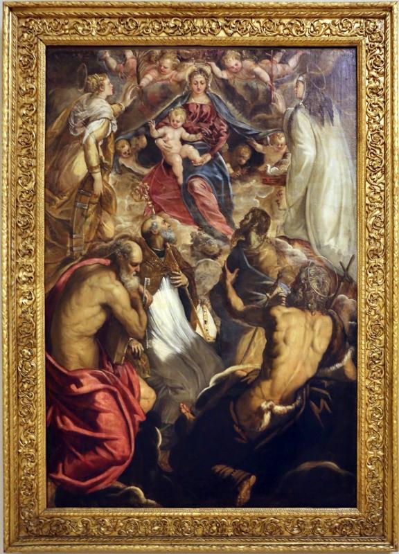 Tintoretto, madonna col bambino coi ss. caterina d'a., scolastica, pietro, agostino, battista e paolo, 1547-49 ca. 01 - Sailko - Modena (MO)