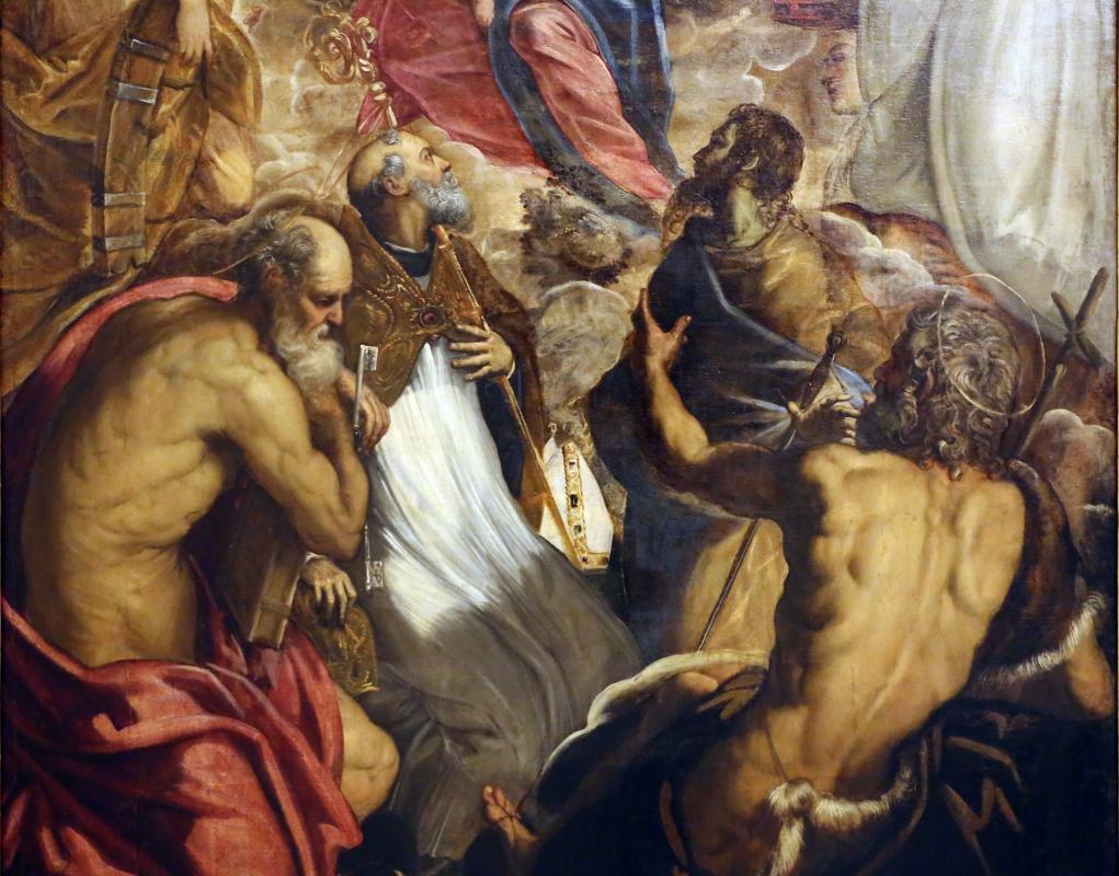 Tintoretto, madonna col bambino coi ss. caterina d'a., scolastica, pietro, agostino, battista e paolo, 1547-49 ca. 03 - Sailko - Modena (MO)
