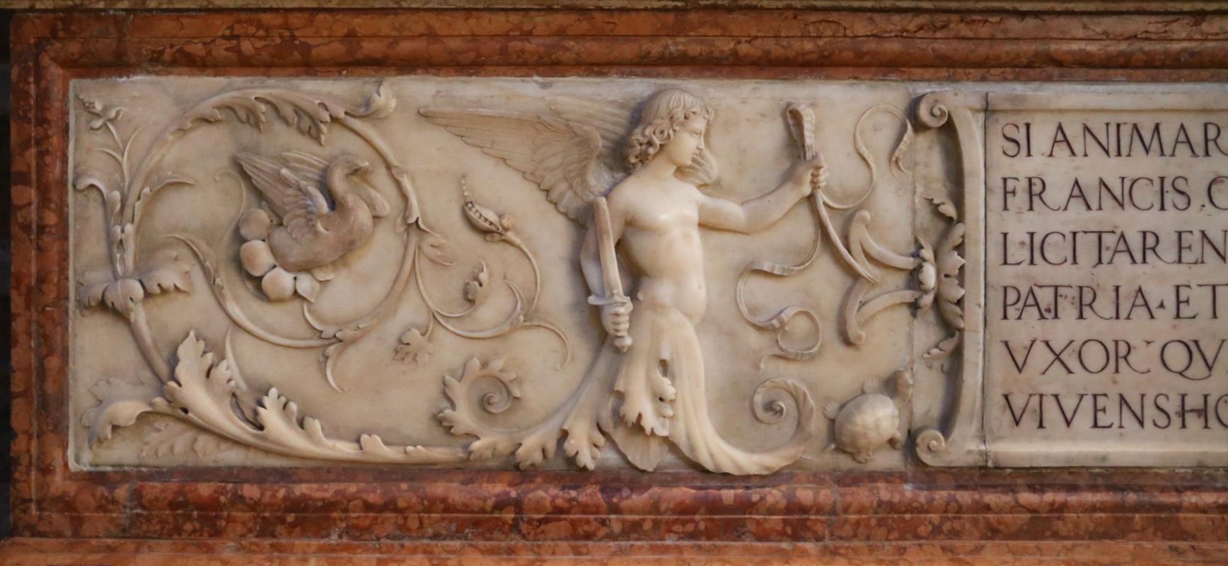 Bartolomeo spani, monumento funebre di francesco molza, 1516, 02 girali con angelo armato di spada - Sailko - Modena (MO)
